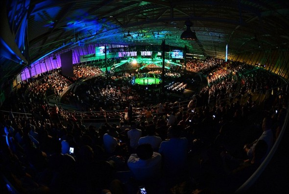 Oct 9, 2013; Barueri, Sao Paulo, Brazil; General view of UFC Fight Night at Jose Correa Arena. Mandatory Credit: Jason Silva-USA TODAY Sports