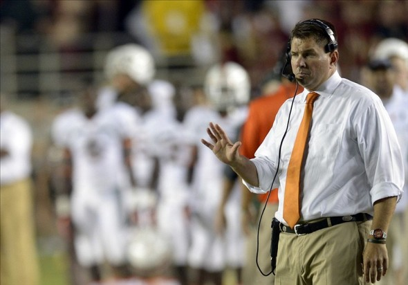 Nov 2, 2013; Tallahassee, FL, USA; Miami Hurricanes head coach Al Golden signals to his players during the first quarter against the Florida State Seminoles at Doak Campbell Stadium. Mandatory Credit: John David Mercer-USA TODAY Sports