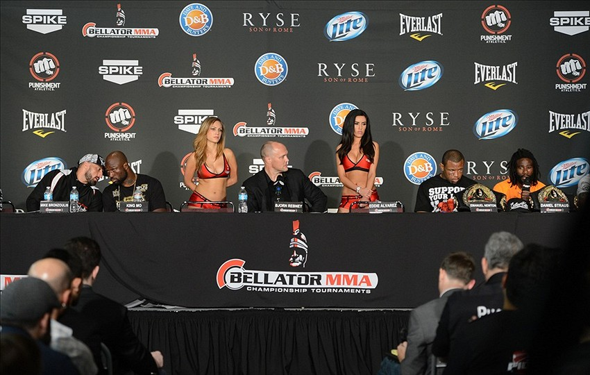 Nov 2, 2013; Long Beach, CA, USA; Bellator chief executive officer Bjorn Rebney, center, at the post fight press conference after the Bellator MMA fight night at the Long Beach Arena. Alvarez won the fight. Mandatory Credit: Jayne Kamin-Oncea-USA TODAY Sports