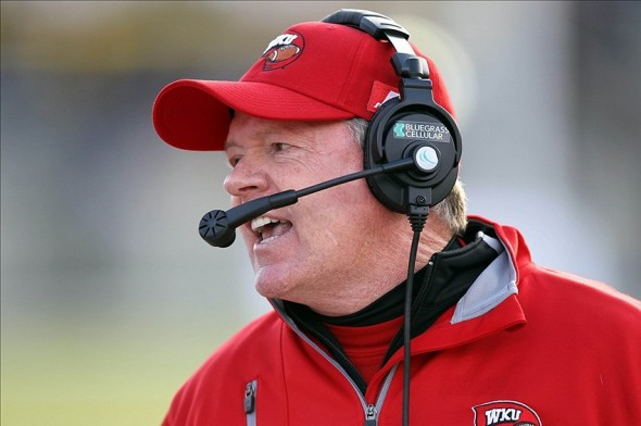 Nov 9, 2013; West Point, NY, USA; Western Kentucky Hilltoppers head coach Bobby Petrino talks with his team during the second half against the Army Black Knights at Michie Stadium. Mandatory Credit: Danny Wild-USA TODAY Sports