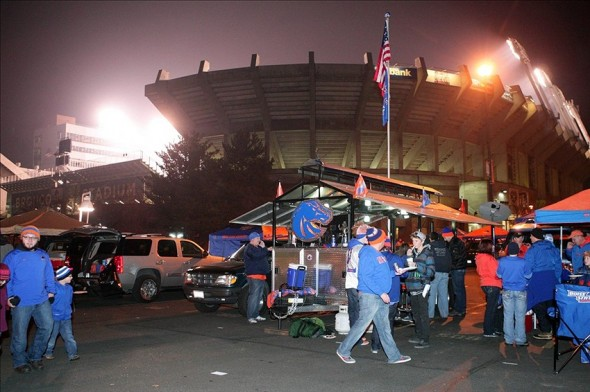 Nov 30, 2013; Boise, ID, USA; Boise State Bronco fans begin to tail gate prior to the Broncos contest verses the New Mexico Lobos at Bronco Stadium. Mandatory Credit: Brian Losness-USA TODAY Sports
