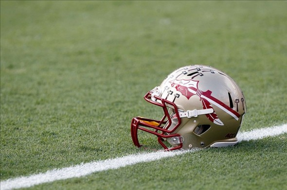 Nov 30, 2013; Gainesville, FL, USA; Florida State Seminoles helmet on the field prior to the game against the Florida Gators at Ben Hill Griffin Stadium. Mandatory Credit: Kim Klement-USA TODAY Sports