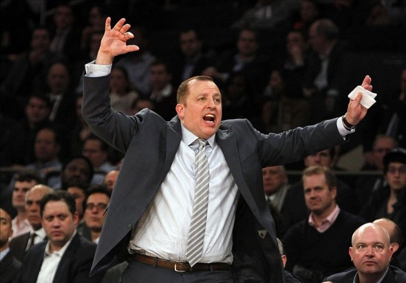 Dec 11, 2013; New York, NY, USA; Chicago Bulls head coach Tom Thibodeau reacts in the second half of NBA game at Madison Square Garden. Mandatory Credit: Noah K. Murray-USA TODAY Sports