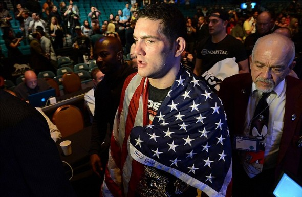 Dec 28, 2013; Las Vegas, NV, USA; Chris Weidman after his UFC middleweight championship bout against Anderson Silva at the MGM Grand Garden Arena. Weidman won. Mandatory Credit: Jayne Kamin-Oncea-USA TODAY Sports