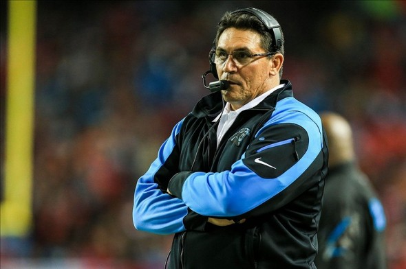 Dec 29, 2013; Atlanta, GA, USA; Carolina Panthers head coach Ron Rivera stands on the sidelines in the second half against the Atlanta Falcons at the Georgia Dome. The Panthers won 21-20. Mandatory Credit: Daniel Shirey-USA TODAY Sports