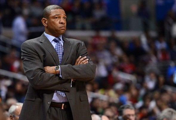 Jan 1, 2014; Los Angeles, CA, USA; Los Angeles Clippers head coach Doc Rivers in the first half of the game against the Charlotte Bobcats at Staples Center. Mandatory Credit: Jayne Kamin-Oncea-USA TODAY Sports