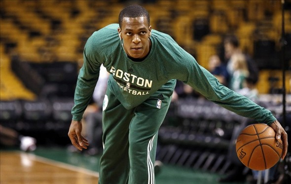 Dec 31, 2013; Boston, MA, USA; Injured Boston Celtics point guard Rajon Rondo (9) dribbles before their game against the Atlanta Hawks at TD Garden. Mandatory Credit: Winslow Townson-USA TODAY Sports