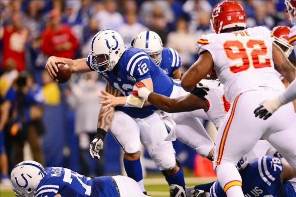 Jan 4, 2014; Indianapolis, IN, USA; Indianapolis Colts quarterback Andrew Luck (12) dives into the end zone for a touchdown during the fourth quarter of the 2013 AFC wild card playoff football game against the Kansas City Chiefs at Lucas Oil Stadium. Mandatory Credit: Andrew Weber-USA TODAY Sports