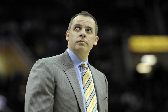 Jan 5, 2014; Cleveland, OH, USA; Indiana Pacers head coach Frank Vogel glances at the scoreboard in the fourth quarter against the Cleveland Cavaliers at Quicken Loans Arena. Mandatory Credit: David Richard-USA TODAY Sports