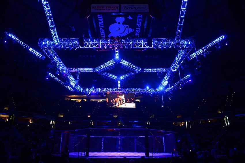 December 14, 2013; Sacramento, CA, USA; General view of the ring during the UFC on FOX 9 at Sleep Train Arena. Mandatory Credit: Kyle Terada-USA TODAY Sports