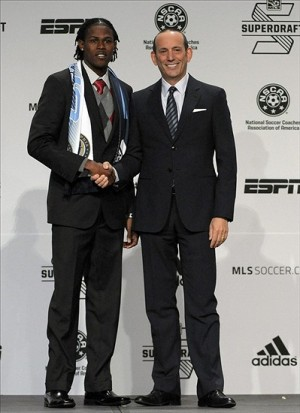 Jan 16, 2014; Philadelphia, PA, USA; Andre Blake (Connecticut) poses for a photo with MLS commissioner Don Garber after being selected as the number one overall pick in the first round to the Philadelphia Union in the 2014 MLS Superdraft at Philadelphia Convention Center. (Eric Hartline, USA TODAY Sports)