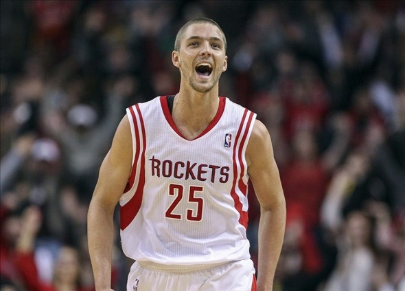 Jan 24, 2014; Houston, TX, USA; Houston Rockets small forward Chandler Parsons (25) reacts after making a basket during the fourth quarter against the Memphis Grizzlies at Toyota Center. The Grizzlies defeated the Rockets 88-87. Mandatory Credit: Troy Taormina-USA TODAY Sports