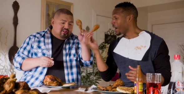 "Marlon Wayans and Gabriel Iglesias in the film ""A Haunted House 2."" Photo Credit: Open Road Films via Yahoo! Movies"