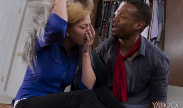 "Marlon Wayans and Jaime Pressley in the film ""A Haunted House 2."" Photo Credit: Open Road Films via Yahoo! Movies"
