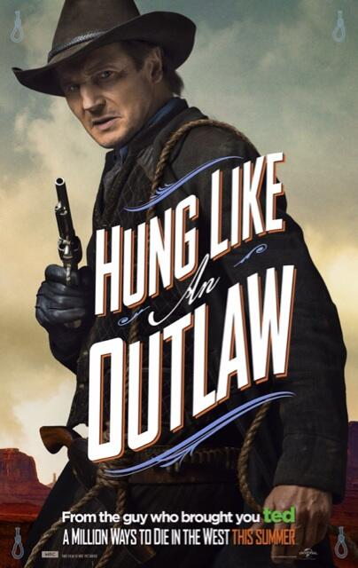 "Liam Neeson in a Character Poster for ""A Million Ways to Die in the West."" Photo Credit: Universal Pictures"