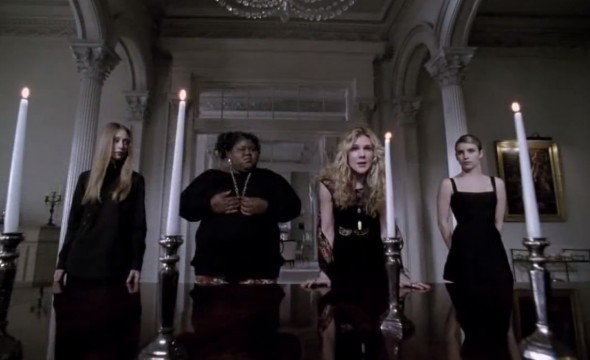 "Taissa Farmiga, Gabourey Sidibe, Lily Rabe, and Emma Roberts as Zoe, Queenie, Misty, and Madison in the Season Finale of ""American Horror Story: Coven."" Photo Credit: FX"