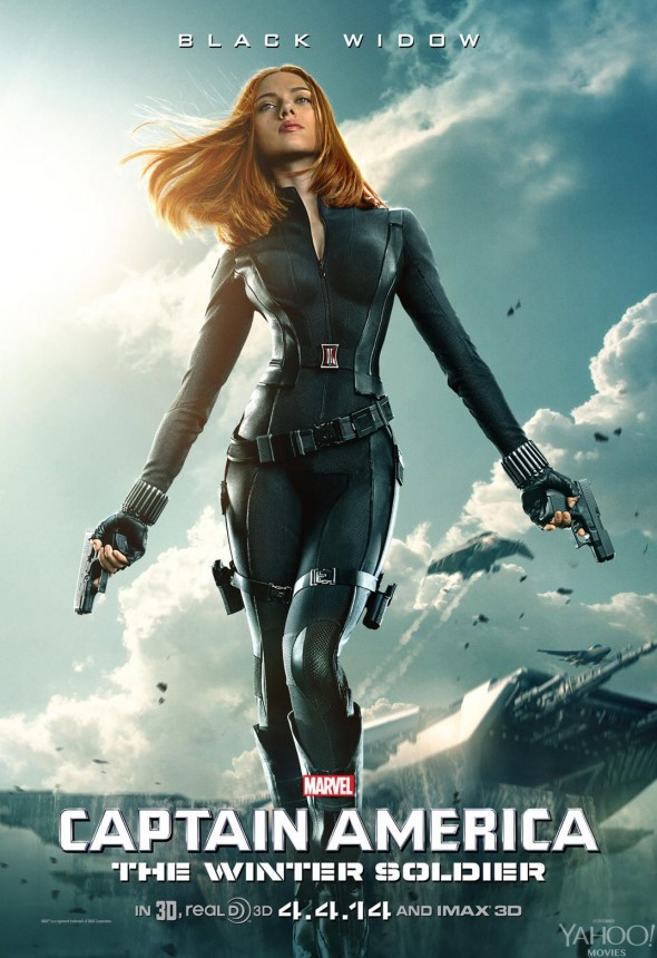 "Scarlett Johansson in a Character Poster for ""Captain America: The Winter Soldier."" Photo Credit: Marvel via Yahoo! Movies"