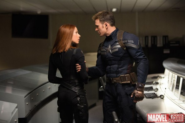 "Chris Evans and Scarlet Johansson as Captain America and Black Widow in the film ""Captain America: The Winter Soldier."" Photo Credit: Marvel"