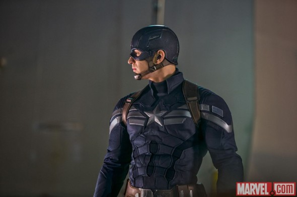 "Chris Evans as Captain America in the film ""Captain America: The Winter Soldier."" Photo Credit: Marvel"