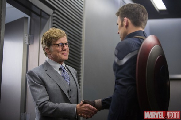 "Chris Evans and Robert Redford as Captain America and Alexander Pierce inn ""Captain America: The Winter Soldier."" Photo Credit: Marvel"