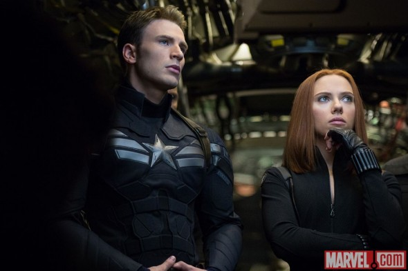 "Chris Evans and Scarlett Johansson as Captain America and Black Widow in ""Captain America: The Winter Soldier."" Photo Credit: Marvel"