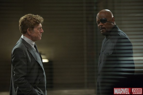 "Robert Redford and Samuel L. Jackson as Alexander Pierce and Nick Fury in ""Captain America: The Winter Soldier."" Photo Credit: Marvel"