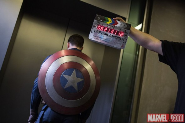 "Chris Evans as Captain America on the set of the film ""Captain America: The Winter Soldier."" Photo Credit: Marvel"