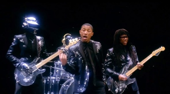 "Daft Punk, Pharrell, and Nile Rodgers in the video for the song ""Get Lucky."" Photo Credit: Columbia Records"