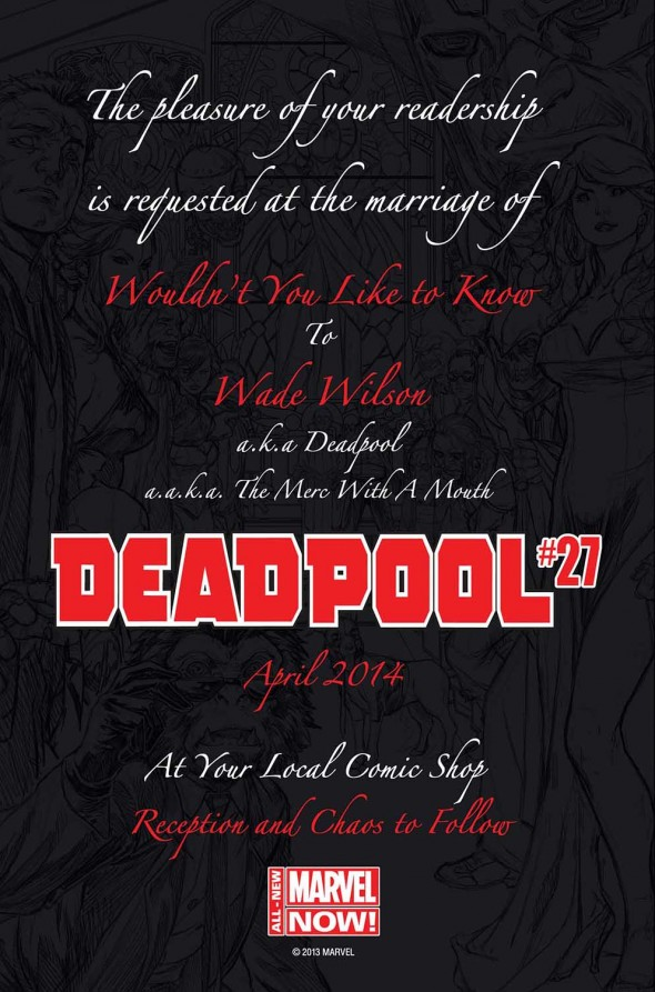 Official Deadpool Wedding Invitation. Photo Credit: Marvel