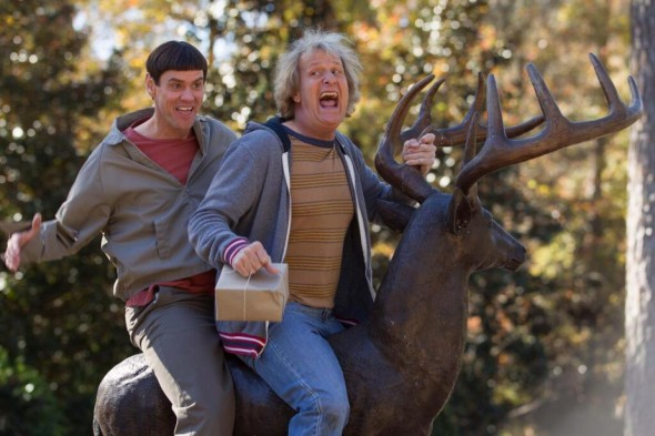 """Jim Carrey and Jeff Daniels as Lloyd Christmas and Harry Dunne in """"Dumb and Dumber To."""" Photo Credit: Universal Pictures"""