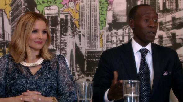 "Don Cheadle and Kristen Bell as Marty Kaan and Jeannie Van Der Hooven in Season 3, Episode 4 of ""House of Lies."" Photo Credit: Showtime"
