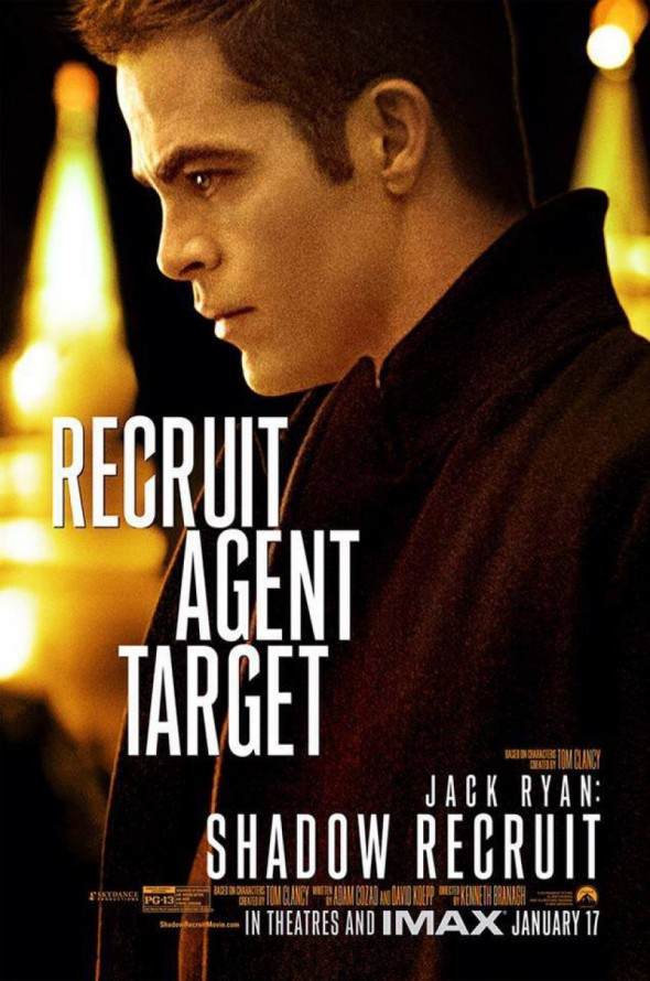 "Chris Pine as Jack Ryan in a promotional poster for ""Jack Ryan: Shadow Recruit."" Photo Credit: Paramount Pictures"