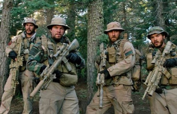 "Mark Wahlberg as Marcus Luttrell, Taylor Kitsch as Michael Murphy, Emile Hirsch as Danny Dietz, and Ben Foster as Matt Axelson in the film ""Lone Survivor."" Photo Credit: Universal Pictures"