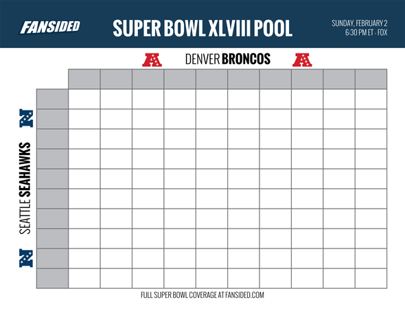 Printable Box Pool For Super Bowl 48