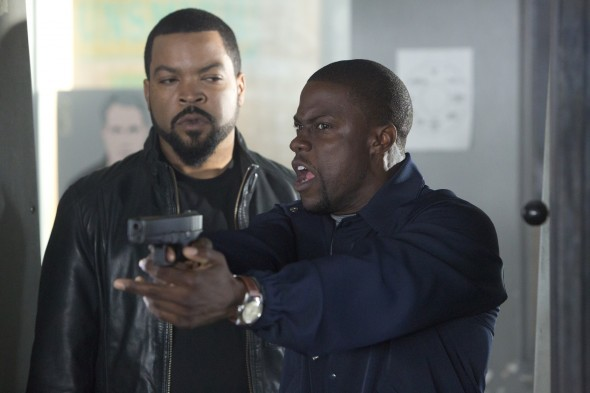 "Ice Cube and Kevin Hart in the film ""Ride Along."" Photo Credit: Universal Pictures"