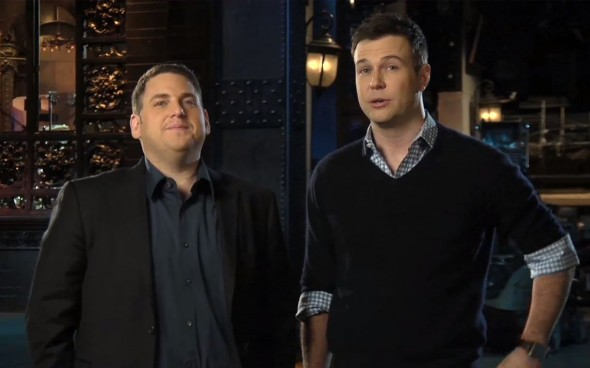 "Jonah Hill and Taran Killam in Promos for the January 25th episode of Saturday Night Live."" Photo Credit: NBC"