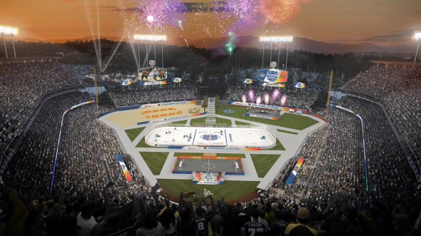 Architectural Rendering of Dodger Stadium for the 2014 Coors Light Stadium Series. Photo Credit: NHL