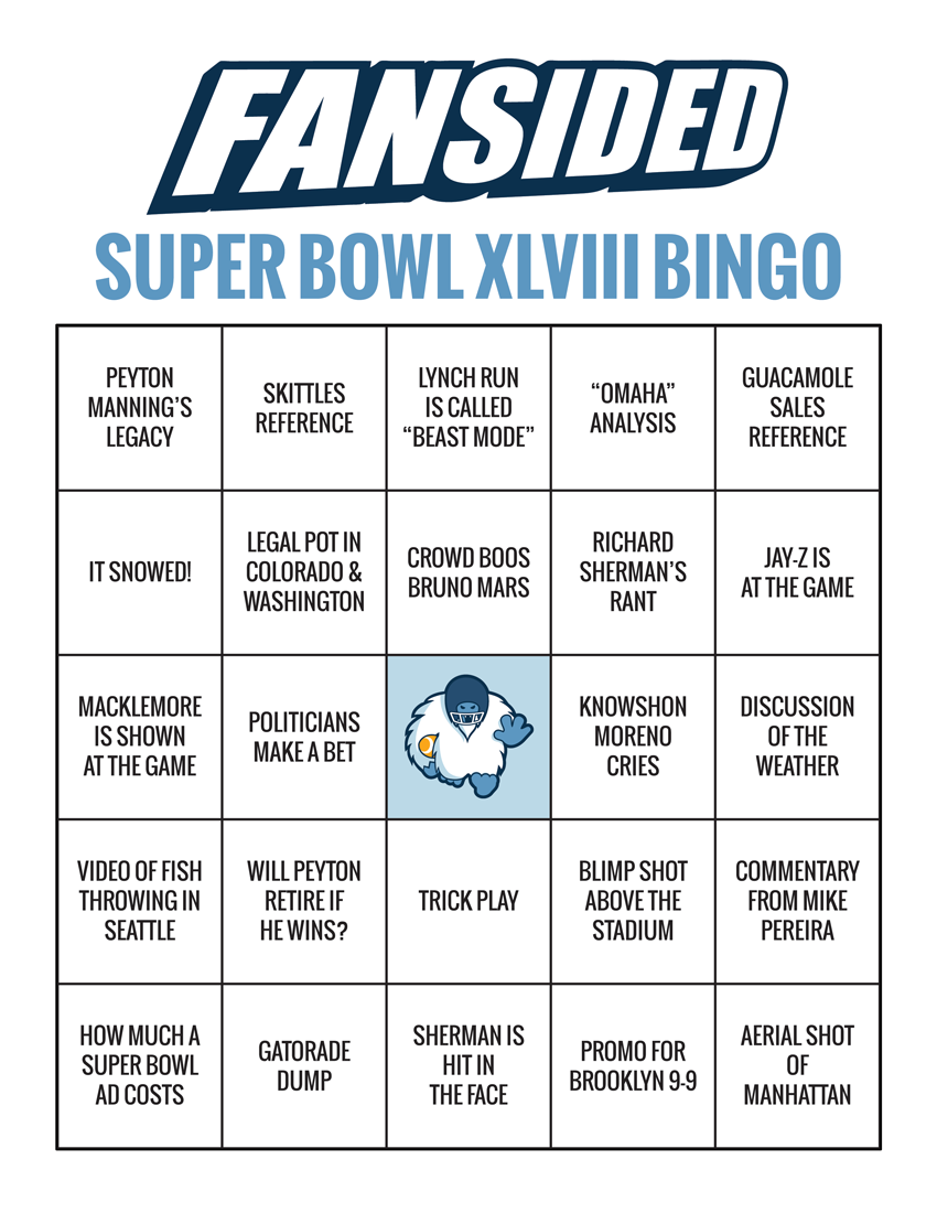 Super Bowl 2014: Bingo cards