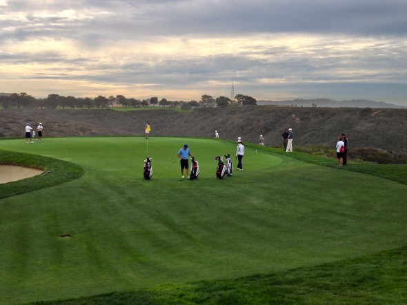 Players practice on the third green at Torrey Pines South. Photo Credit: Bernie D'Amato-FanSided.com