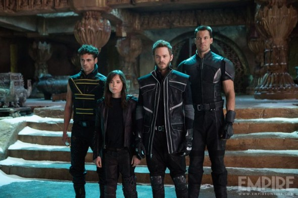 "Adan Canto, Ellen Page, Shawn Ashmore, and Daniel Cudmore as Sunspot, Kitty Pryde, Iceman, and Colossus in ""X-Men: Days of Future Past."" Photo Credit: Marvel via Empire Magazine"