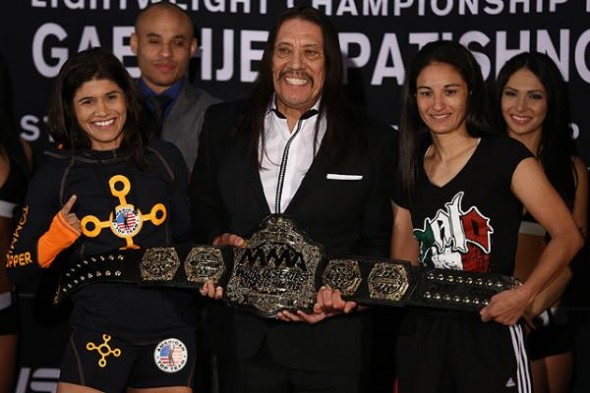 From left to right: Jessica Aguilar, Danny Trejo and Alida Gray. Photo Credit: Dave Mandel, Sherdog.com