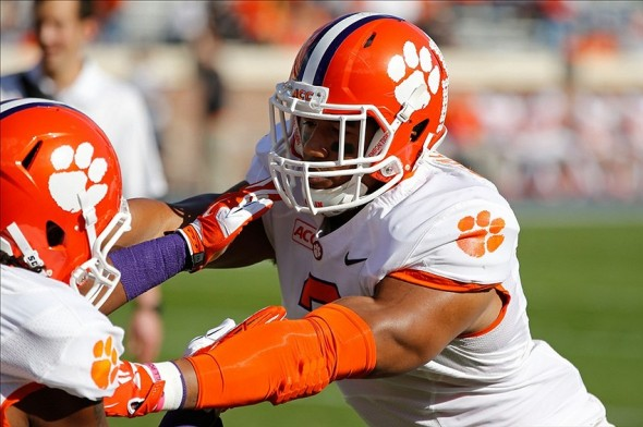 Nov 2, 2013; Charlottesville, VA, USA; Clemson Tigers defensive end Vic Beasley (3) participates in warm ups prior to the Tigers game against the Virginia Cavaliers at Scott Stadium. Mandatory Credit: Geoff Burke-USA TODAY Sports