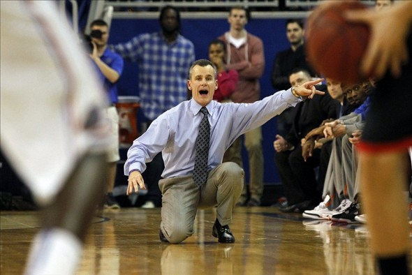 Jan 14, 2014; Gainesville, FL, USA; Florida Gators head coach Billy Donovan reacts against the Georgia Bulldogs during the second half at Stephen C. O