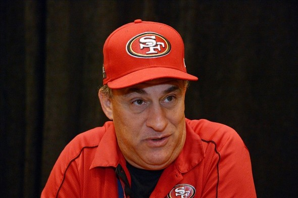 Jan 30, 2013; New Orleans, LA, USA; San Francisco 49ers defensive coordinator Vic Fangio at a press conference at the Marriott New Orleans in advance of Super Bowl XLVII against the Baltimore Ravens. Mandatory Credit: Kirby Lee-USA TODAY Sports