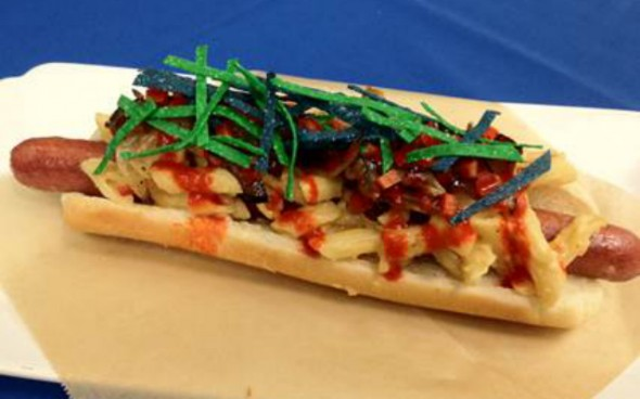 "A look at the ""DangeRuss"" hot dog that will be sold at the NFC Championship game between the Seattle Seahawks and San Francisco 49ers. (Photo credit: Delaware North)"