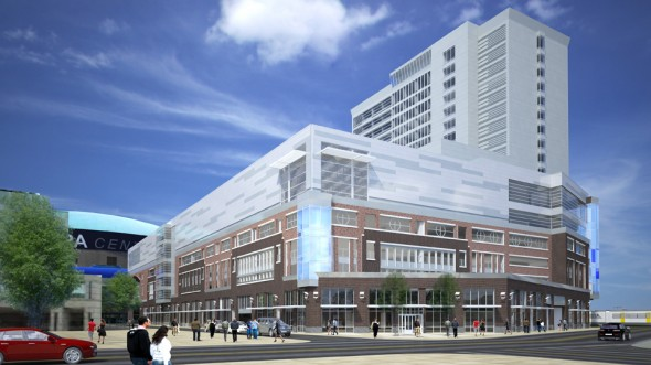 A rendering of the HarborCenter being built across from the First Niagara Center in Buffalo. Courtesy: HarborCenter.com
