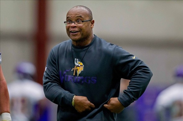 May 3, 2012; Eden Prairie, MN, USA; Minnesota Vikings assistant head coach and linebackers coach Mike Singletary teaches players in drills at the Minnesota Vikings Rookie Minicamp at Winter Park. Mandatory Credit: Bruce Kluckhohn-USA TODAY Sports