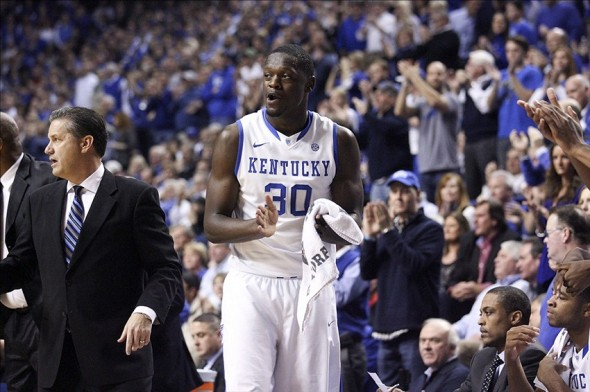 Dec 28, 2013; Lexington, KY, USA; Kentucky Wildcats forward Julius Randle (30) celebrates during the game against the Louisville Cardinals in the first half at Rupp Arena. Mandatory Credit: Mark Zerof-USA TODAY Sports
