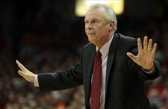 Jan 8, 2014; Madison, WI, USA; Wisconsin Badgers head coach Bo Ryan directs his team as they play the Illinois Fighting Illini at the Kohl Center. Wisconsin defeated Illinois 95-70. Mandatory Credit: Mary Langenfeld-USA TODAY Sports