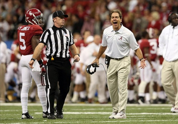 Jan 2, 2014; New Orleans, LA, USA; Alabama Crimson Tide head coach Nick Saban yells in the second half against the Oklahoma Sooners at the Mercedes-Benz Superdome. Oklahoma defeated Alabama 45-31. Mandatory Credit: Crystal LoGiudice-USA TODAY Sports